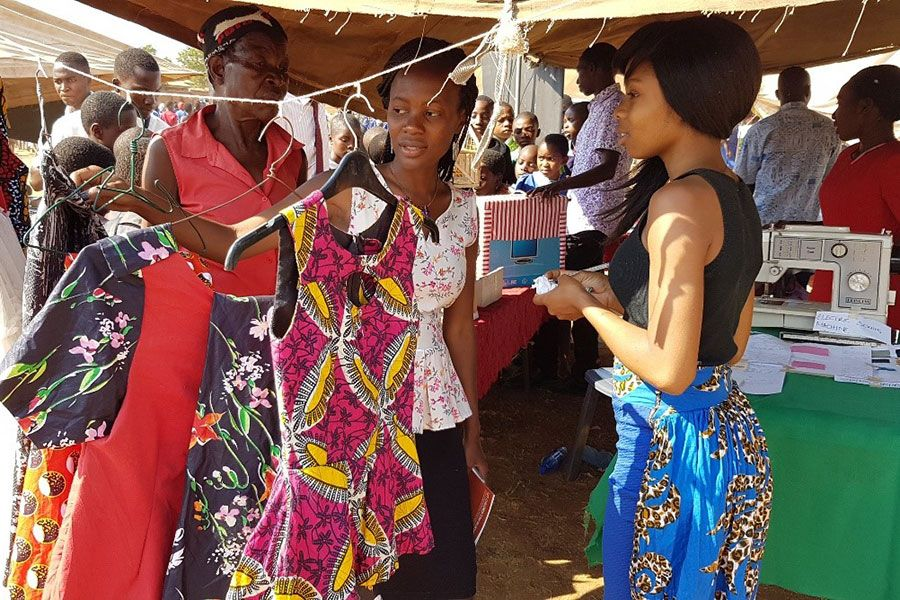 During the 2016 Non-Governmental (NGO) Week held at Masintha Ground in Lilongwe, Victoria was invited to showcase some of her designs as one way of inspiring youth and exhibiting the skills she had learnt at Mikolongwe Vocational School and during internship