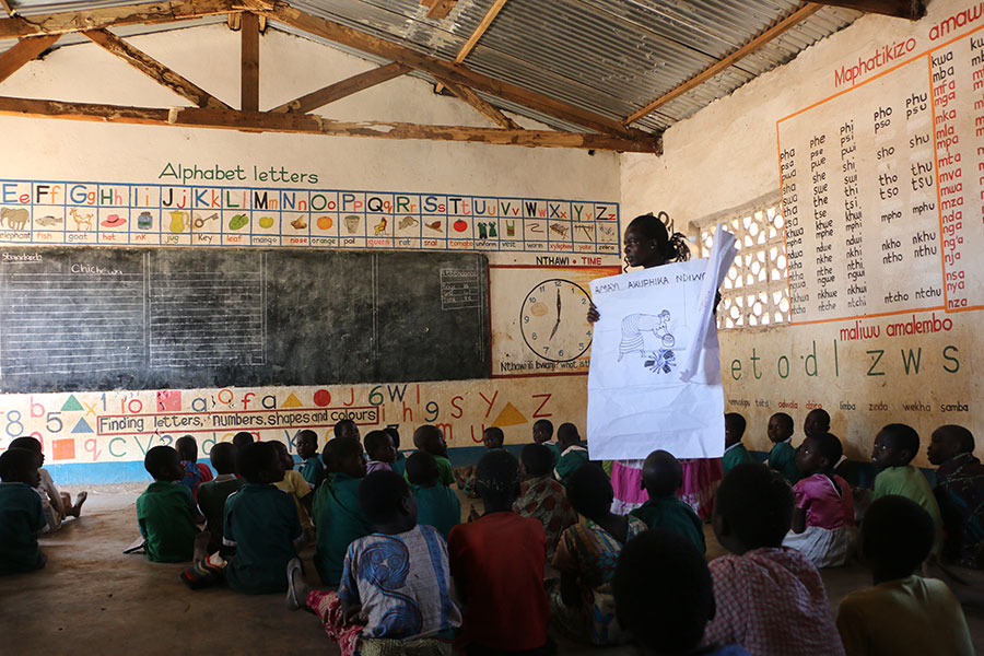 One of the classrooms with prints on walls