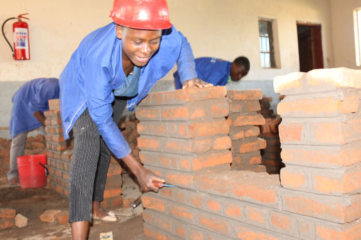 Bricklaying Student At Mikolongwe Vocational School