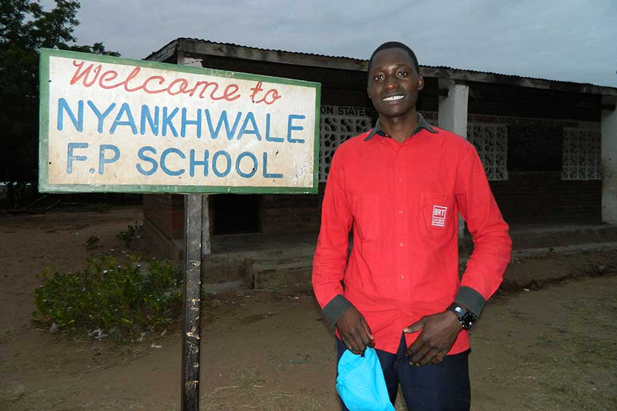 Petros a volunteer teacher at Nyankhwale