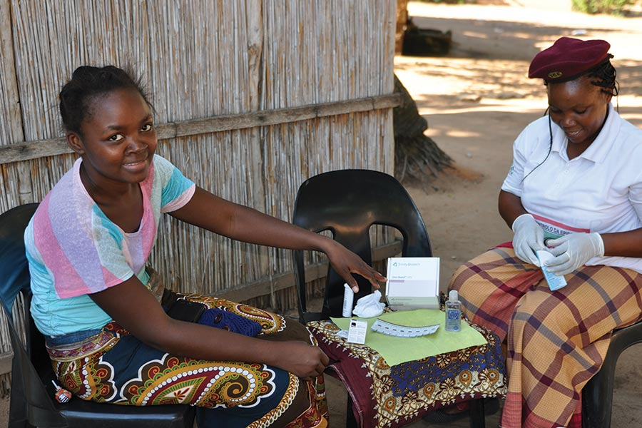 ADPP Mozambique - an adolescent woman volunteering for HIV testing