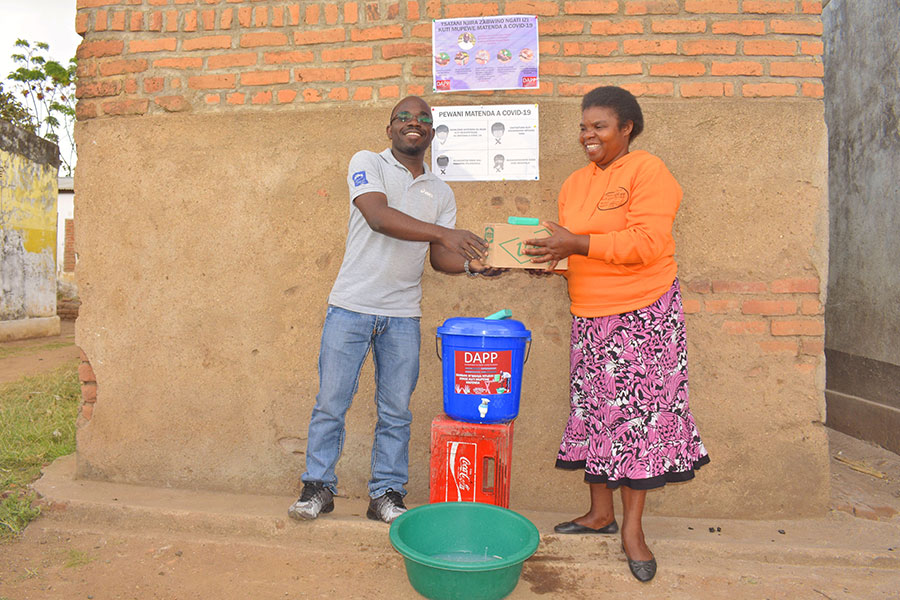 Handing over of handwashing materials and soap