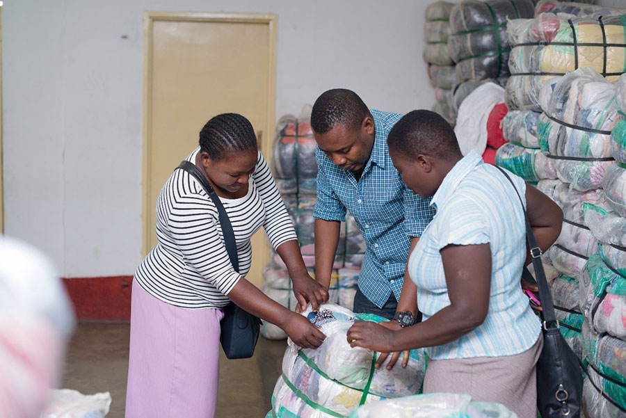 Customers buying bales from a Wholesale Outlet
